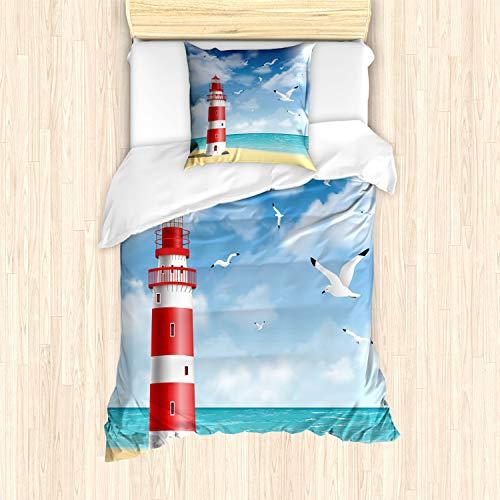 ABAKUHAUS Playa Ensemble de Housse de Couette, Faro de Las gaviotas del océano, Decorativo Piezas...