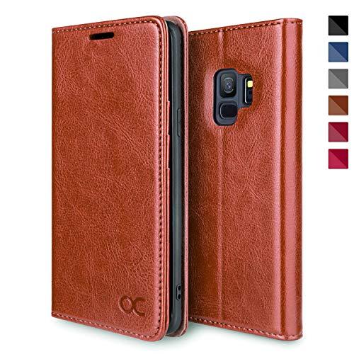 OCASE Galaxy S9 Hülle Handyhülle Samsung S9 [Premium Leder][Standfunktion][Kartenfach][Magnetverschluss] Tasche Flip Case Etui Schutzhülle Schlanke Leder für Samsung Galaxy S9 Cover Braun