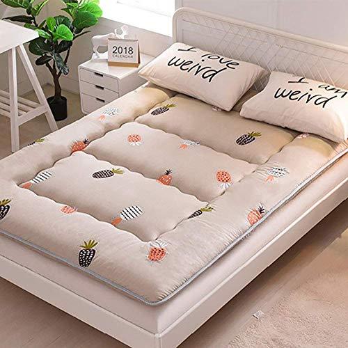 ZLJ Japanese Floor Futon Mattress Tatami Floor Mat Folding Roll Up Floor Lounger colorful Pineapple Kids Sleeping Pad 180x200cm(71x79inch)