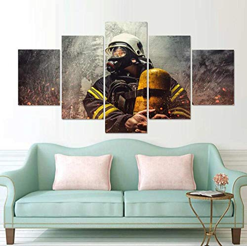 Lienzo impreso de alta definición modular 5 imágenes de bombero héroe cuadro de arte de pared póster de decoración de la sala de estar + lienzo impreso de alta definición modular 5 cuadros de bom