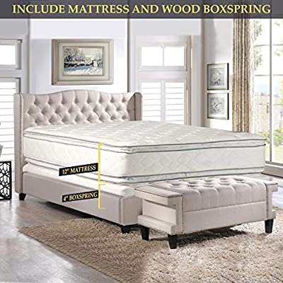 12-Inch medium plush Double sided Pillowtop Innerspring Mattress And 4-Inch Fully Assembled Boxspring/Foundation Set