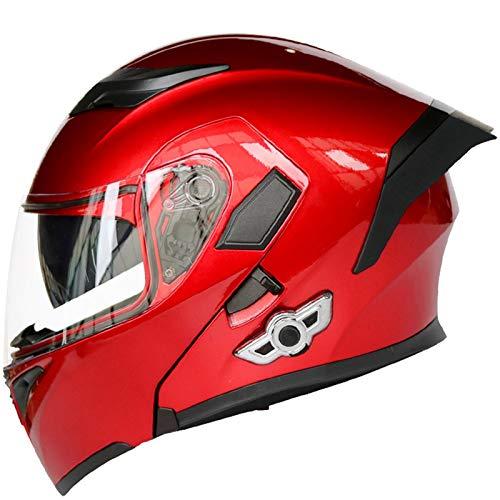 ABDOMINAL WHEEL Casco de Motocicleta Integrado Bluetooth,Cascos modulares de Moto de Visera Doble Certificación ECE Integrados Casco de Carreras de Cara Completa Diseño de Personalidad A,XXL=63~64CM