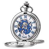 Reloj de bolsillo, esfera esqueleto doble grabada ManChDa reloj mecánico retro para hombre movimiento dorado con cadena (plata)