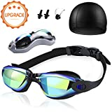 Gafas de Natación Piscina Antiniebla Antivaho Protección UV sin Fugas Gafas para Nadar con Gorra de Natación Pinza de Nariz y Tapones para los Oídos para Adulto Hombre Mujer Niños Juventud