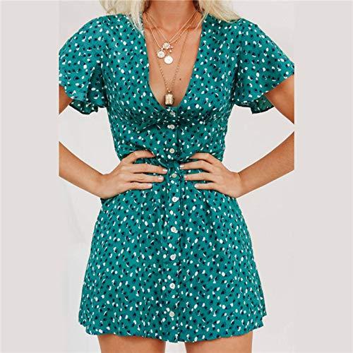 N\C Vestido de mujer Verano 2019 Vintage Sexy Bohemia Floral Print Vestido de Fiesta Deep V Cuello Mini Vestido de Playa Sundress Vestidos De Verano