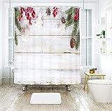 Aartoil Weihnachts-Duschvorhang-Dekor, Weihnachtsdekoration Weihnachten Obst Stoff Duschvorhang aus Polyester für Badezimmer mit Haken Weiß Grün, Dünn 180 x 180 cm