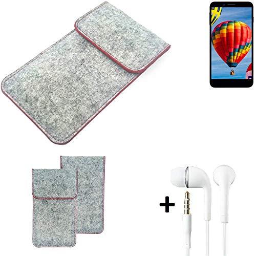 K-S-Trade® Handy Schutz Hülle Für Vestel V3 5030 Schutzhülle Handyhülle Filztasche Pouch Tasche Hülle Sleeve Filzhülle Hellgrau Roter Rand + Kopfhörer