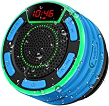 Bluetooth Speakers, DuoTen IPX7 Waterproof Wireless Portable Bluetooth Speakers w/LED Display, FM Radio, Suction Cup, Light Show, Loud Stereo Sound and Bass for Shower, Pool, Party, Travel, Outdoors