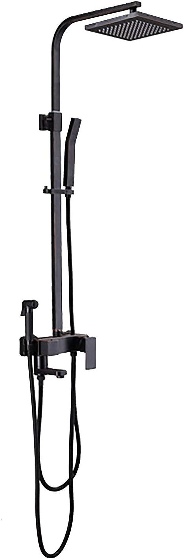 Initial Schwarze Retro-Wasserhahn-Dusche - mit aufgeladener Spritzpistole, Edelstahl-Kopfbrause 10,5 (Zoll) Viergang-Brausenset zur Wandmontage