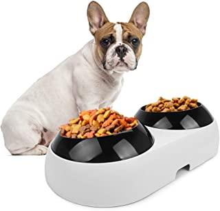 Slanted Dog Bowl for French Bulldogs,Double Food Water Bowls for Flat-Faced Dogs & Cats,BPA Free 15° Tilted Plastic Feeding Raised Bowls,Non-Skid Slope Base Stand & Non-Spill Pet Feeder Dish