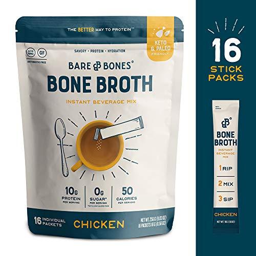 Bare Bones Bone Broth Instant Powdered Beverage Mix, Chicken, 10g Protein, Keto & Paleo Friendly, 15g Sticks, Pack of 16 Servings