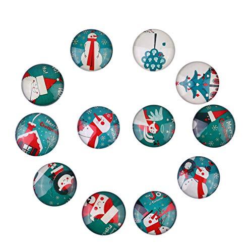 UPKOCH 12 Confezioni Magneti da Frigorifero Natalizi - Motivo Natalizio Magneti da Frigo in Vetro Decorativi 3D Piccoli Magneti per Mappa Frigorifero Armadio Lavagna