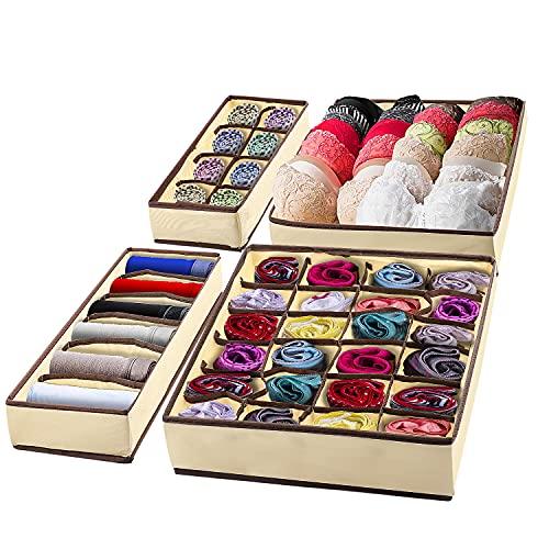 Zhangpu Organizador de cajones, organizador para cajones, organizador de armario, juego de 4, ahorra espacio, armario para ropa, cajones, calcetines, bufandas