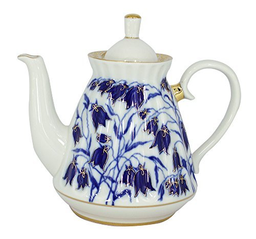Lomonosov Porzellan 5 Tassen Teekanne 750 ml Blaue Glocken von Lomonosov Russland
