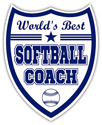 World's Best Softball Coach Pitching Machine Gift Idea Coaches Thank You Gift White and Blue Sticker Decal Shield 4x5 inches
