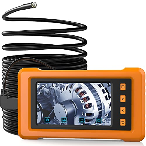 KZYEE Endoscopio Industriale da 5,5 mm, Display IPS Full-View da 4,3 Pollici, 2800mAh 1080P HD Telecamera IP67 Telecamera a Serpente Semi-Rigida Impermeabile con 6 luci a LED e 8GB TF Card- 33FT