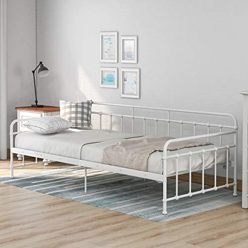 Joycelzen Tagesbett, 3FT Einzelbettrahmen Schlafsofa mit Weiß Lattenrost zum Gast, Freund, Kinder, Erwachsene, 90 x 200 cm