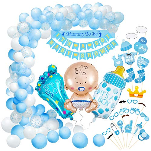 Baby Shower Decoración, Comius Sharp 56 Piezas Baby Shower Globos Baby Shower Accessorios para Niño Cumpleaños Baby Shower Decoración(Blue)