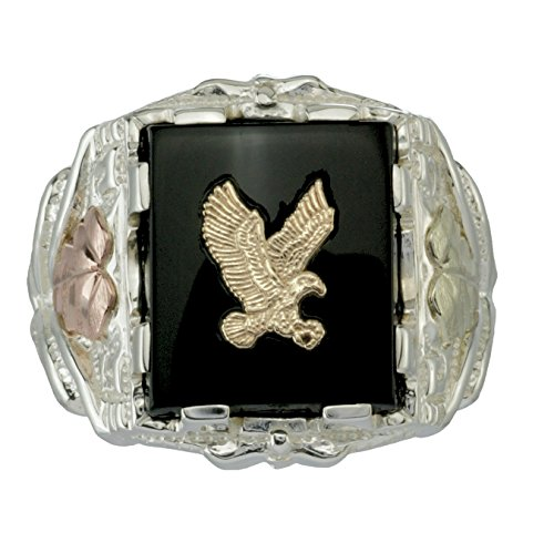 Men's Onyx Eagle Ring, 10k Yellow Gold, Sterling Silver, 12k Green and Rose Gold Black Hills Gold Motif, Size 9.25