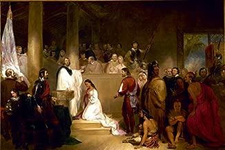O Batismo de Pocahontas Princesa Índia Americana 1840 Pintura de John Gadsby Chapman na Tela em Vários Tamanhos (80 cm X 53 cm tamanho da imagem)