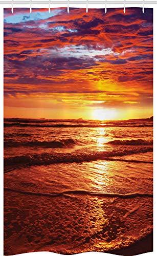 ABAKUHAUS Hawaiano Cortina para baño, Sea Sunset Crepúsculo, Tela con Estampa Digital Apta Lavadora Incluye Ganchos, 120 x 180 cm, Amarillo Naranja