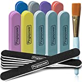 16Pcs Nail Files and Buffer, Pingispower Professional Manicure Tools Kit, Art Care Nail Buffers Block 100/180 and 600/3000 Grits, Double Sided Washable