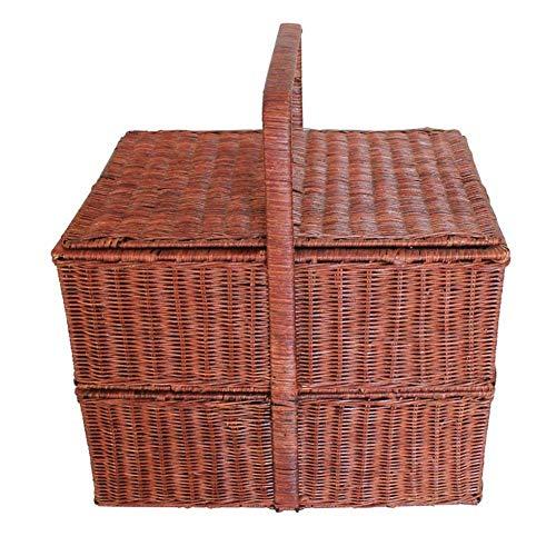 XGFSFL Rattan Picknickkorb mit Deckel 5~6 Personen Picknickkorb Zwei Ebenen Markt Mittagessen Tasche für Camping Wandern Reise braun 43 * 33 * 32cm