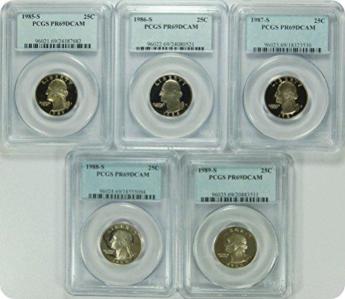 """0 S 1985-89S Date Run of """"5"""" PCGS PR69DCAM Washington Quarters Quarter DCAM PCGS PR-69"""