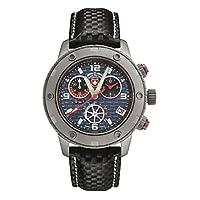CX Swiss Military メンズ モータースポーツ 44mm ブラックレザーバンド スチールケース スイスクオーツ ブルーダイヤル 腕時計 27471