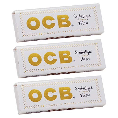 OCB Sophistique 1 1/4 Rolling Paper & Tips - 3 Packs - 50 Papers/Tips Each