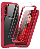 LeYi Compatible with Galaxy A10e Case, Samsung Galaxy A10e Case with 2 Tempered Glass Screen Protector, Full Body Protective Hybrid Clear Bumper Shockproof Phone Cover Case for Samsung A10e Red