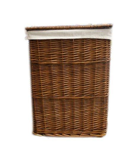 Woodluv Brown Wicker Linen Laundry Storage Basket/Bin Clothes W/Lid - Medium