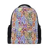 Mochila Linda Bolsa de Colores Puede usarse para empapelar City Houses Mochila para niños y niñas al Aire Libre Mochila Casual