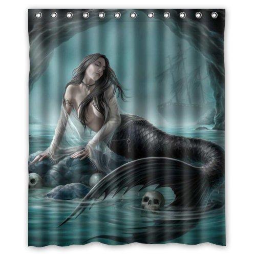FMSHPON Mermaid Waterproof Polyester Fabric Shower Curtain