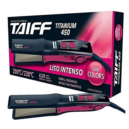 Chapinha Titanium Taiff 450 Colors Preto e Rosa Bivolt Cerâmica 230ºC