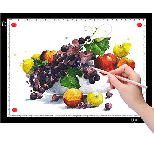ICETEK Mesa de luz LED A4 para Dibujar, Mesa de luz Ultrafina, atenuación Continua, Esquinas...