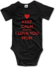 Baby Boys Girls Keep Calm Because I Love You Mom Short Sleeve Bubble Infant Romper Bodysuit Jumpsuit