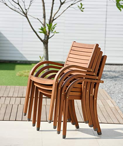Amazonia Arizona 4-Piece Outdoor Stacking Armchairs Set | Eucalyptus Wood | Ideal for Patio and Indoors
