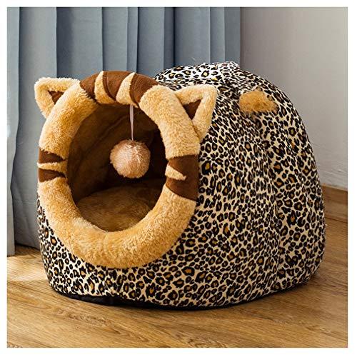Netter Katzen-kleines Hundebett-Höhlenhaus-Warmer gemütlicher Nest-Haustier-Schlafenberuhigungsbeutel mit Kissen und Decken (Color : C)