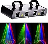 U`King Mini Four Holes DJ Disco Stage Effect Lighting Sound Beam Effect Activated Strobe Light RGBY LED Music...
