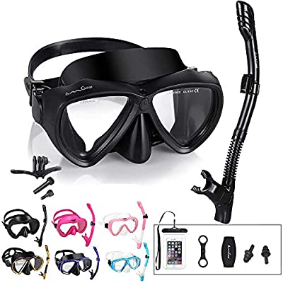 OMGear Snorkel Set Snorkeling Gear Package Diving Set Premium Silicone Dive Goggles Snorkel Equipment Goggles Anti-Fog Anti-Leak Neoprene Strap Scuba Diving Freediving Swimming (Black-Camera)