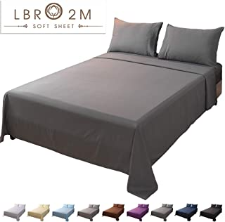 LBRO2M Bed Sheet Set Full Size 16 Inches Deep Pocket 1800 Thread Count 100% Microfiber Sheet,Bedding Super Soft Hypoallergenic Breathable,Resistant Fade Wrinkle Cool Warm,4 Piece (Dark Grey)