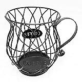 BMZP Cesto portaoggetti per caffè, cestello portaoggetti per Capsule caffè in Ferro Nordico Arte caffè Porta cialde per caffè Portaoggetti da Cucina (Nero) Creativo Pratico