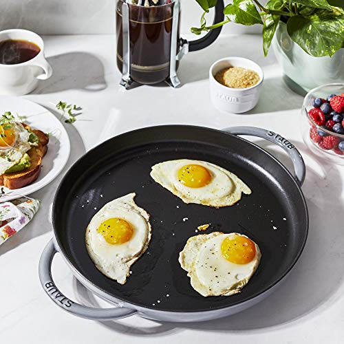 Staub Cast Iron 12-inch Round Double Handle Pure Griddle - Graphite Grey