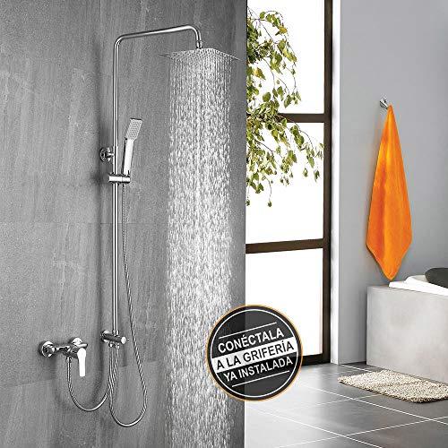 Columna de ducha SIN GRIFERÍA extensible de 80 a 120 cm AZ. Se conecta a grifos de ducha estandar. Incluye desviador, 2 flexos de 60cm y 175cm, ducha de mano y rociador superior con diseño cuadrado