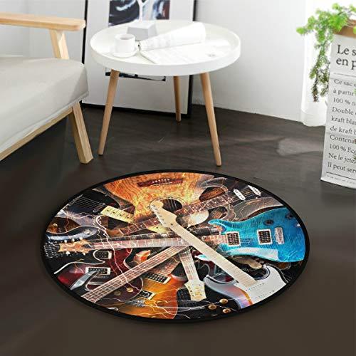 Mnsruu Teppich für E-Gitarre, Musik, rund, für Wohnzimmer, Schlafzimmer, 92 cm Durchmesser