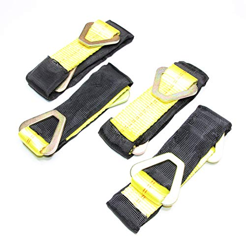 """WorldPac (Pack of 4) 24"""" Tie Down Axle Straps with Protective Sleeve and Delta Ring - 10,000b Load Capacity"""