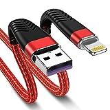 Juego de 2 cables de 2 m para iPhone, [certificado MFi de 6 pies, cable de carga Lightning de Apple largo a USB, nailon rápido para iPhone 12 11 10 XS Max XR X 8 Plus 7 6s 6 SE 5s 5c 5 iPad (rojo)