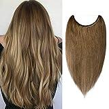 40cm - Extensiones de Cabello Natural Hilo Invisible 60g Una Piezas 100% Remy Human Hair Extension - 6# Marrón Claro