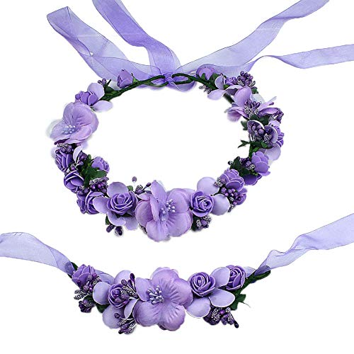 bdrsjdsb 2pcs Cerceau De Cheveux, Fleur Artificielle Cheveux Guirlande Guirlande Bande De Poignet Fête De Mariage Femmes Décor Violet